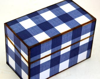 Wood Recipe Box Dark Blue and White Plaid Fits 4x6 Cards