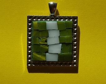 Pendant mosaic: Little tower; Jewelry Necklace Pendant square; Jewelry Necklace Pendant mosaic stained glass and ceramic; Pendant mosaic