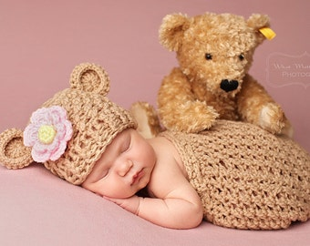 Crochet Newborn Baby Swaddle Sack and Bear Hat - Photography Prop
