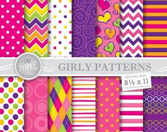 GIRLY PATTERNS Digital Paper Downloads / Digital Downloads / Pink Purple Digital Paper Patterns / 8 1/2 x 11 Printable Scrapbook Paper