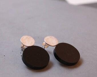 Hoop Earring, Sterling Silver Ear studs with Black Plexi,  Geometric Earring, Modern Silver Jewelry, Contemporary art