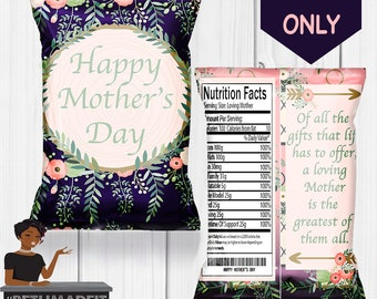 Happy Mother's Day, Mother's Day, Wedding, Baby Shower, Chip Bag, Custom Chip Bag, Digital or Printed and Shipped