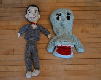 Pee-Wee Herman and Chairry Crochet Dolls