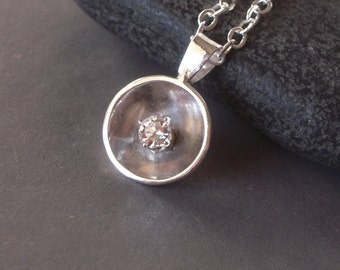 Argentium Silver Necklace, Hand Forged Necklace, 925, Petite Pendant, Sterling Silver, Domed Pendant