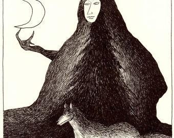 Original drawing - Night mountain / Crescent