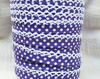 Double Fold Crochet Edge Bias Tape - Crochet Bias Tape - Lace Bias Tape - Purple Bias Tape - Polka Dot Bias Tape - Purple Lace Ribbon
