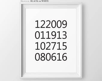 Important Dates Special Keepsake Dates Print, What a difference a day makes, birth dates print, keepsake gift, Wife Anniversary Gift