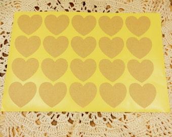 Kraft Heart Stickers, Blank Heart Stickers, Blank Kraft Stickers, Wedding Favour Seals, Heart Kraft Labels, Kraft Stickers, DIY Wedding