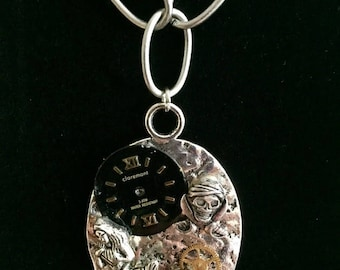 Steampunk silver mermaid and skull necklace