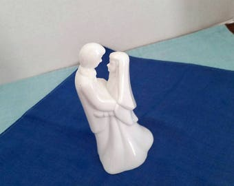 White Ceramic Wedding Cake Topper