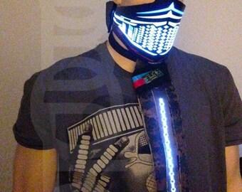 Hipster Mask Urban Prom Tie - Rave Mask Light Up Tie Combo - LED Mask Robot Mask LED Sound Reactive Tie for Dj Dancer Cyborg Cosplay Costume
