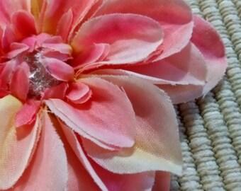 Mini Dahlia Glitter Jewel Center Flower Hair Accessory Headband Clip Brooch #022