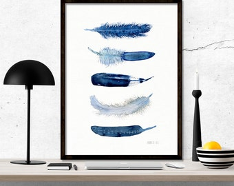 Blue feather wall art. Minimalist art print of five blue feathers. Archival art print from original watercolor artwork by Annemette Klit.