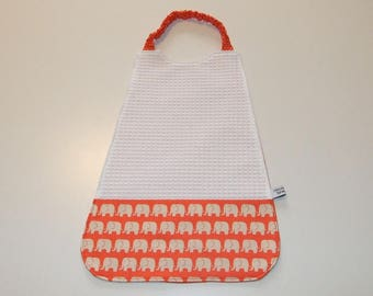 Elastic printed towel orange elephants