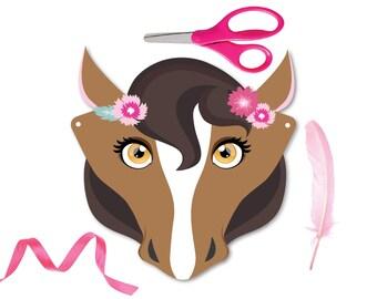 4 Horse Masks, DIY paper horse masks, party favor, plus colouring horse mask