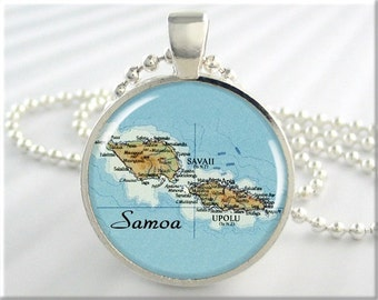 American Samoa Pendant, Resin Charm, Samoa Islands Map, Picture Jewelry, Map Necklace, Round Silver, Travel Gift 744RS