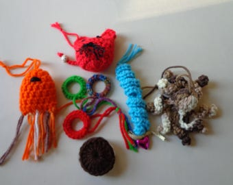 Ferret toys, 6 toys, Cat, small dog toy, pet toy, 6 crocheted toys,