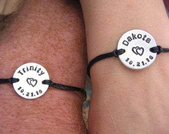 Boyfriend Girlfriend bracelet set - Couples Set - His and Her Stamped Bracelet set - Couples Bracelets - Personalized Bracelet set