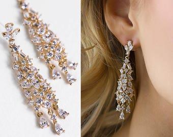 Gold Earrings Bridal Jewelry Chandelier Earrings Wedding Jewelry Long Earrings Bridal Accessories Dangle Earrings Crystal Earrings E155-G