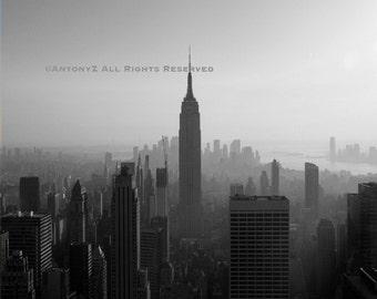 Classic New York City Skyline NYC Empire State 8x10 Black and White Fine Art Print