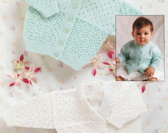 BABY KNITTING PATTERN -  Cardigans/Sweaters/Jackets - 3 ply 14 - 22 ins