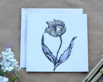 Botanical Greetings Card, Tulip, Hand Drawn Card, Easter Card, Birthday Card, Mothers Day Card, Card For All Occasions