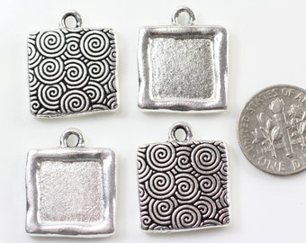 TierraCast Spiral Drop Frames, Simple Square Frames, Jewelry Findings,  .999 Fine Silver Plated Lead Free Pewter, 4 Pieces, 6012