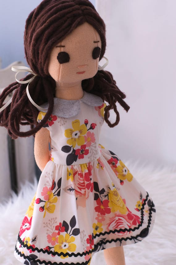 Rag Doll with Wardrobe, Dark Brown Hair