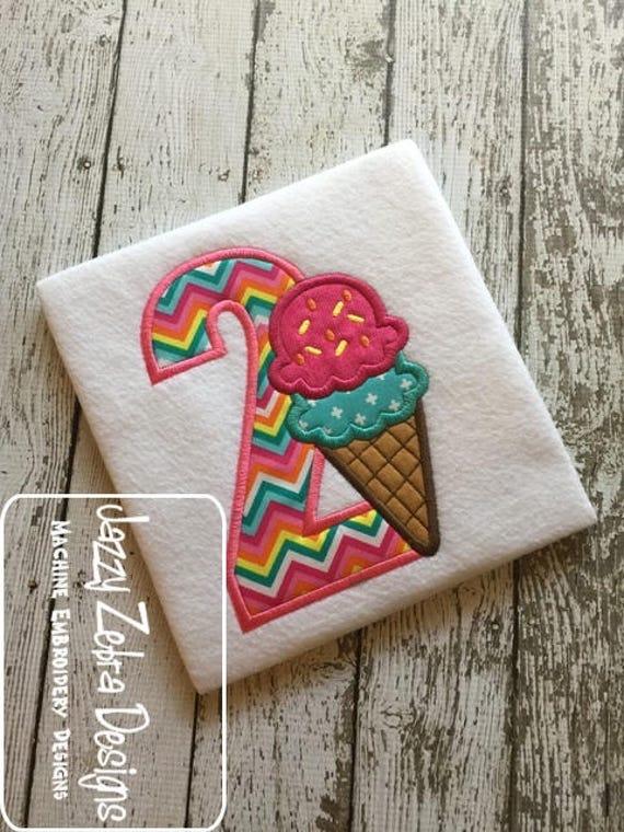 Two ice cream cone appliqué embroidery design - ice cream appliqué design - 2nd birthday appliqué design - second birthday appliqué design