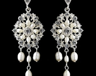 Vintage Style Chandelier Earrings With Crystals And Freshwater Pearls, Statement Earrings, Bridal Earrings, Gold Or Silver