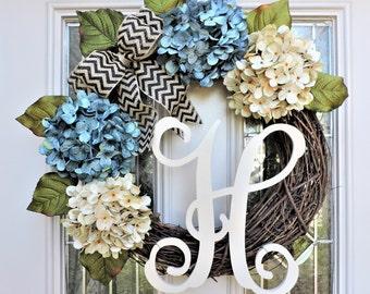Blue and Cream Hydrangea Front Door Wreath-Spring Front Porch Wreath-Wreath for Door-Wreath with Burlap Bow-Monogram Wreath-Front Porch