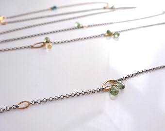 Layer Sapphire Beaded Chain Necklace, Convertible Chain Necklace and Bracelet with Sterling silver and recycled 18k gold