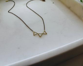The Kara // Simple Geometric Brass Necklace