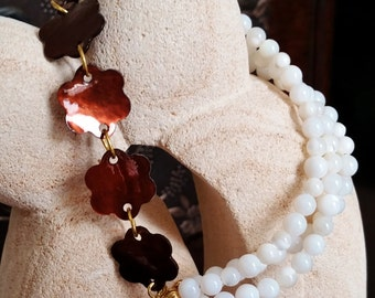 White and Brown Mother of Pearl Bracelet, Floral, Asymmetrical, Multi Strand