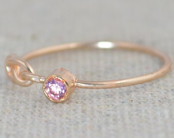 Pink Tourmaline Infinity Ring, Rose Gold Filled Ring, Stackable Rings, Mothers Ring, October Birthstone, Rose Gold Ring, Rose Gold Knot Ring