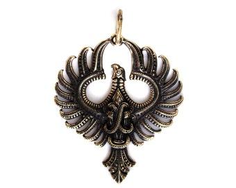 Phoenix (2) Bronze pendant with leather cord Bird pendant Phoenix jewelry Phoenix Wings Pendant necklace Phoenix rising Egyptian mythology