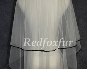 Cheap Bridal Veil - white bridal veil - Ivory Veil - black ribbon edge veil -2 veil - wedding veil- Bridal Accessories - Wedding Supplies