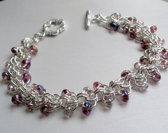 Purple bracelet - silver and purple - chainmaille bracelet - roosa bracelet - beaded chainmaille - purple bracelet - purple chainmaille