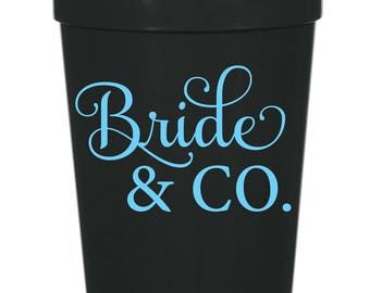 Bride & Co., Tiffany Style Wedding party Cup- 16 oz. Reusable Plastic Stadium Cup- Minimum Purchase of 12 Cups!