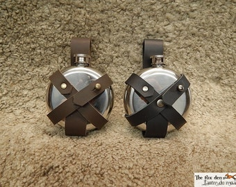 Potion flask to put on a belt, metal flask with leather support, SCA, LARP safe.