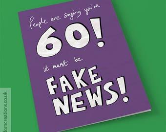 60th birthday card etsy fake news 60th birthday card funny political greeting cards age sixty bookmarktalkfo Choice Image