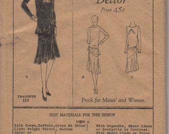 Bust32, Bust 33-FACTORY FOLDED 1920's Misses' Frock Dress Butterick Deltor 2708 Sz 14 or Sz 15