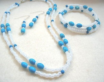 Blue and White Jewelry Set, Turquoise Blue Howlite and White Seed Bead Necklace, Memory Wire Bracelet, Blue Bead Earrings, Handmade