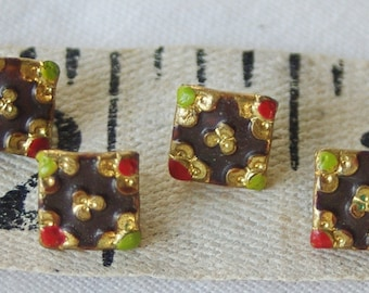 Tiny Victorian metal buttons. Square with handpainted detail. Antique Dolls clothes. Set 4