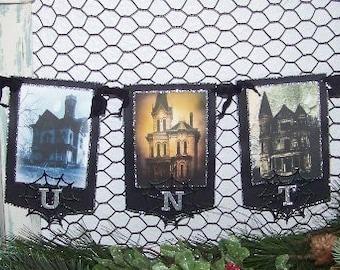 Halloween Banner Halloween Garland Handmade Vintage Style Haunted Mansion House Banner Halloween Decoration