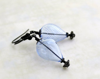 Black and Blue hot air balloon earrings - black metal findings with delicate blue and clear balloon beads