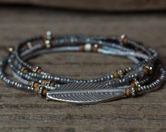Leaf Bracelet, Leaf Charm Bracelet, Tribal Bracelet, Wrap Bracelet, Beaded Necklace, Boho Bracelet, Seed Bead Jewelry, Stretch Bracelet