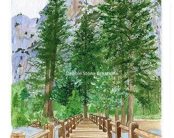 Yosemite Bridge, Print of the Original Acrylic on Watercolor, Mountains, Evergreens, Pine trees, Bridge, National Parks, Mountain Landscape