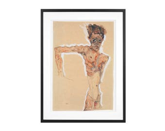 Egon Schiele - Self-Portrait 1911 Expressionist - Gouache, Watercolour and Graphite High Quality Print