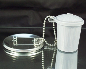 CLOSEOUT SALE - Trash Can Button Accessories - 50 pcs - Includes Trash Can and Ball Chain